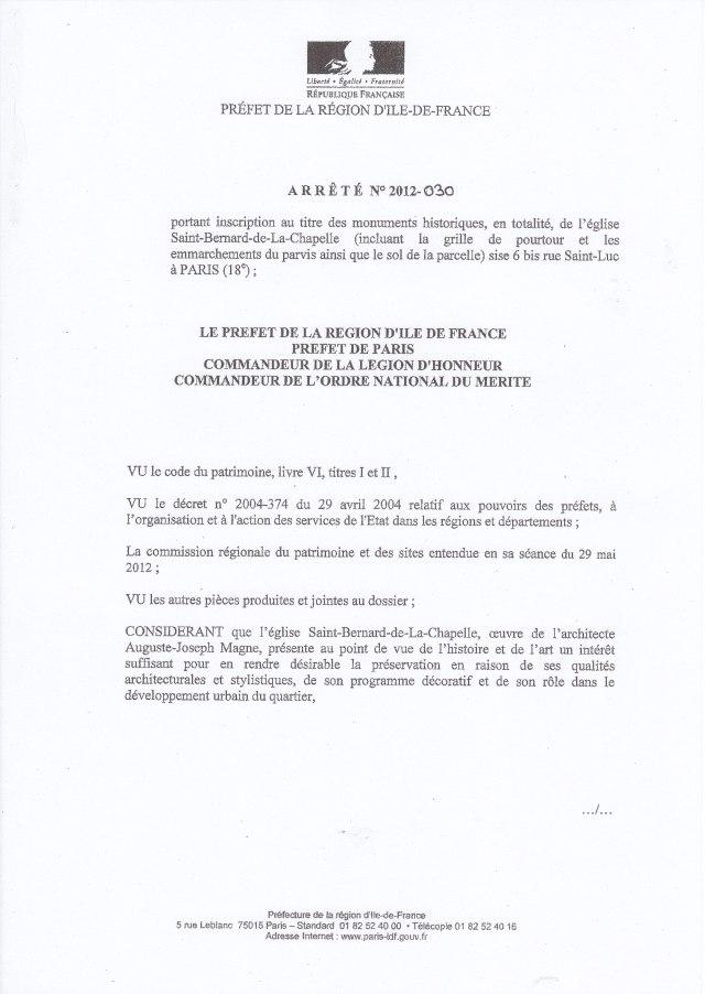 Arrêté n° 2012-030 (voir lien ci-dessus).