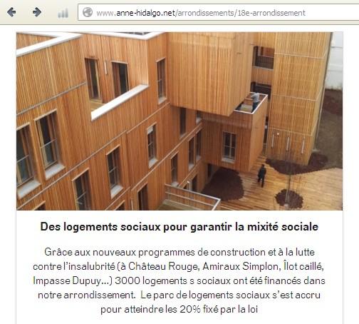 La page 18e du site d'Anne Hidalgo (capture d'écran du 6 juillet 2013).