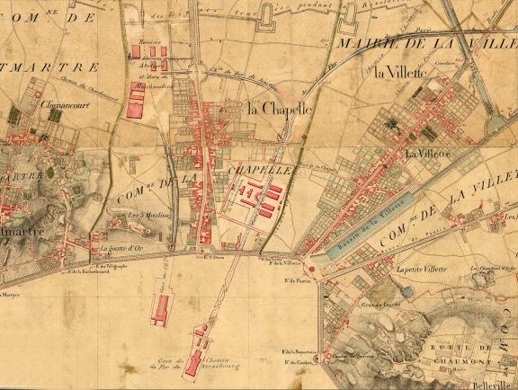 1818-1824 Carte d'État-major (image Paris Historique).