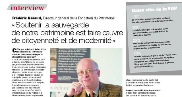Extrait de la Lettre d'information de la Fondation du patrimoine, octobre 2011, p. 7.
