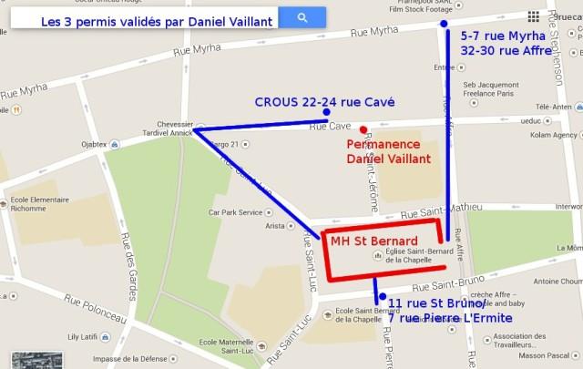 Daniel Vaillant et le patrimoine du 18e dans un mouchoir de poche (via Googlemap).