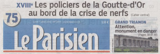 Le Parisien, bandeau de une du 7 juillet 2014.