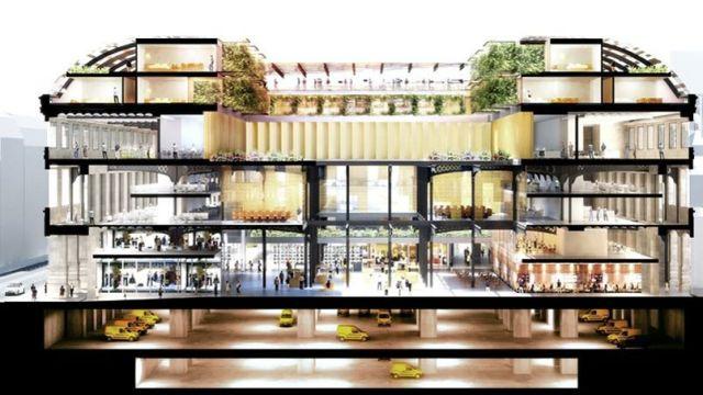 Vue en coupe de la façade du projet de réaménagement de la Poste du Louvre dessiné par l'architecte Dominique Perrault.
