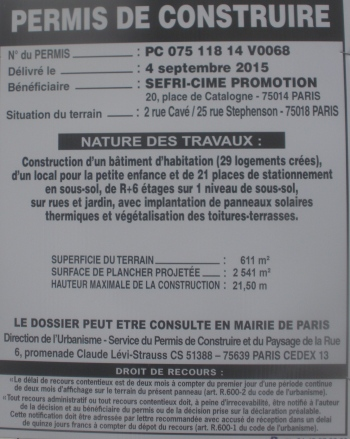 Affichage du permis qui aurait été accordé pour le 25 rue Stephenson le 4 septembre