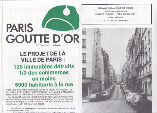 La Une de Paris-Goutte d'Or de juin 1984.