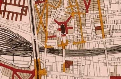 La parcelle englobée dans l'espace urbain d'intérêt exceptionnel (François Loyer, APUR, 1982).