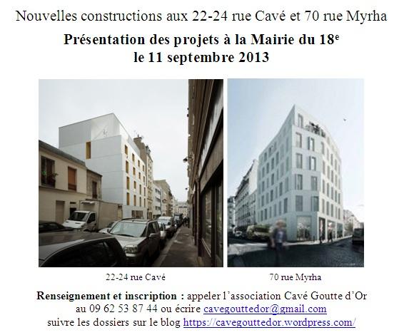 11 septembre 2013 en Mairie du 18e (flyer d'invitation) : la façade ouest du 22-24 rue Cavé est encore ornée de sa baie soignée sur le square Léon.