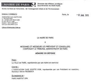 Mémoire en défense du 8 janvier 2015.