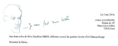 Un soin particulier apporté à la lettre de la Cohérie Boris Vian à Éric Lejoindre.