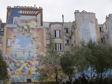 Fresque du square Léon (détail).